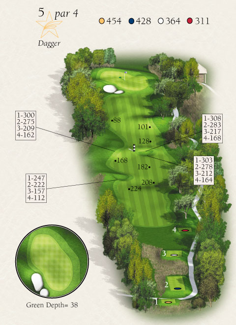Map with stats for hole 5