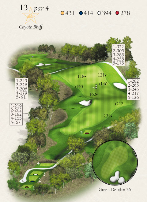 Map with stats for hole 13